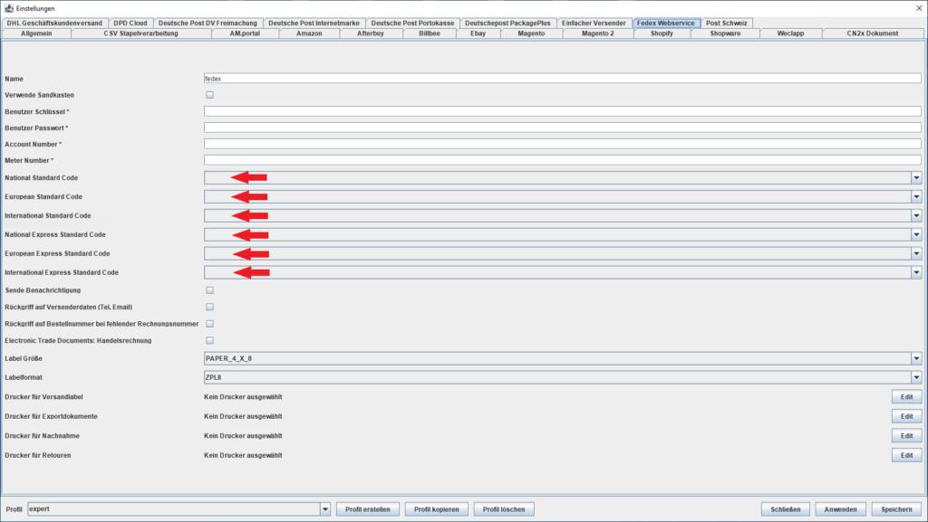 FedEx Webservice Standardcodes