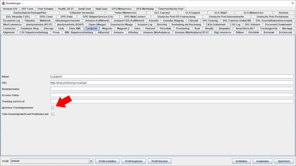LeadPrint ignoriere Trackingnummer