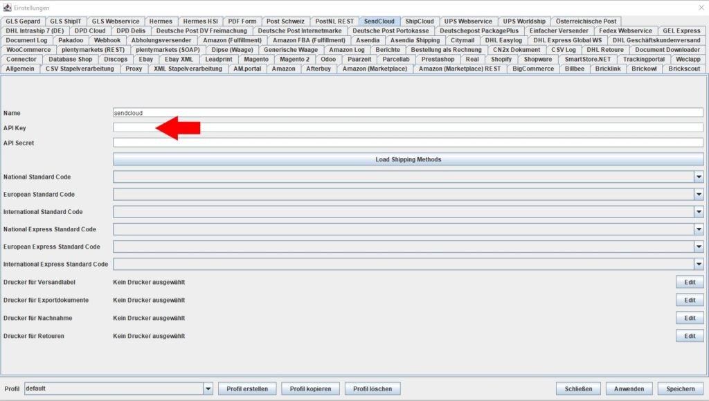 Sendcloud API key