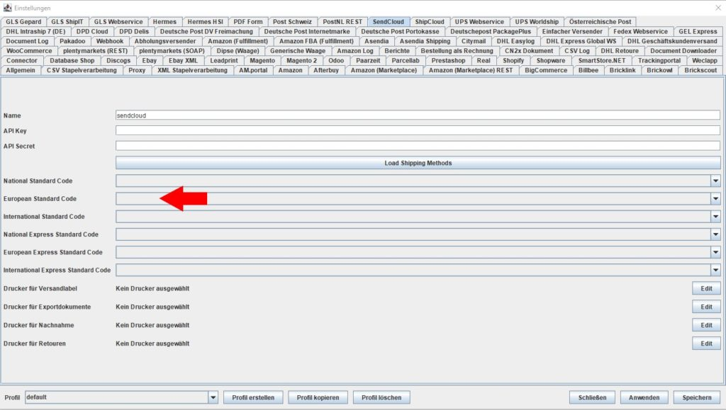Sendcloud European standard code