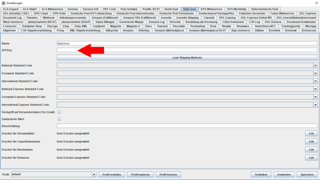 Shipcloud API Key