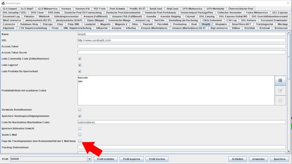 Shopify füge trackingnummer kommentarfeld hinzu