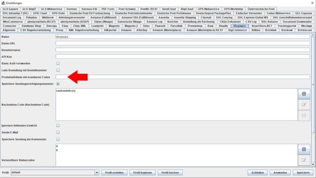 Shopware produktattribute mit scanbaren codes
