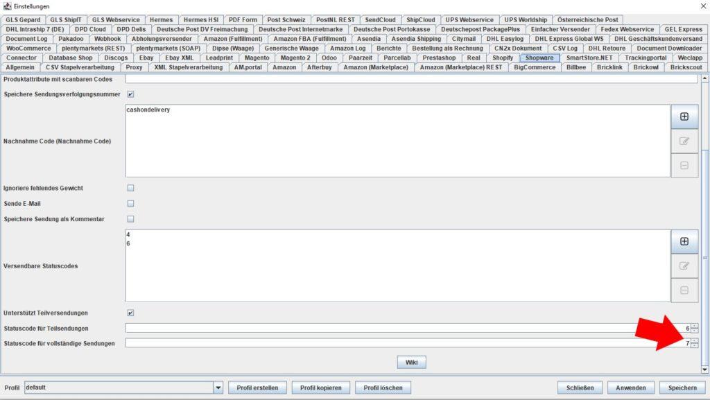 Shopware statuscode für vollsendung