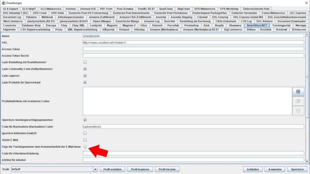 Smartstore füge trackingnummer kommentarfeld hinzu