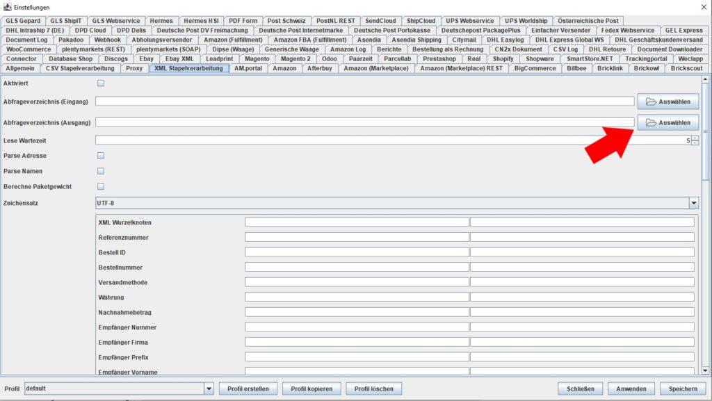 XML Abfrageverzeichnis Ausgang