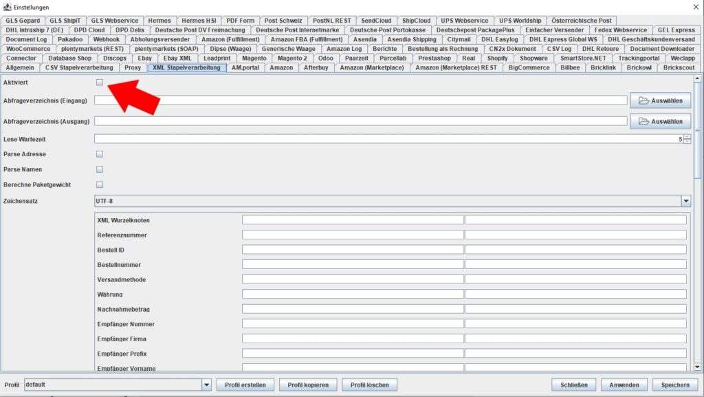 XML aktiviert