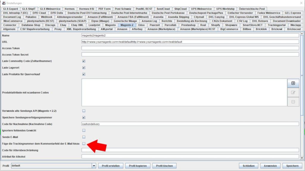 magento2 füre trackingnummer dem kommentarfeld hinzu
