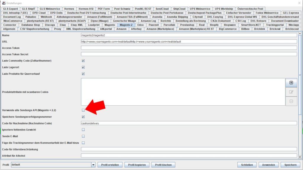 magento2 verwende alte sendungs API