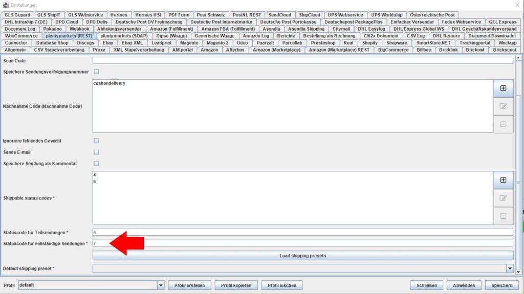 plentymarkets REST Statuscodes für vollständige Sendungen