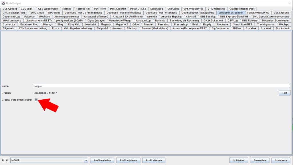 UPS Webservice Drucke Versandaufkleber
