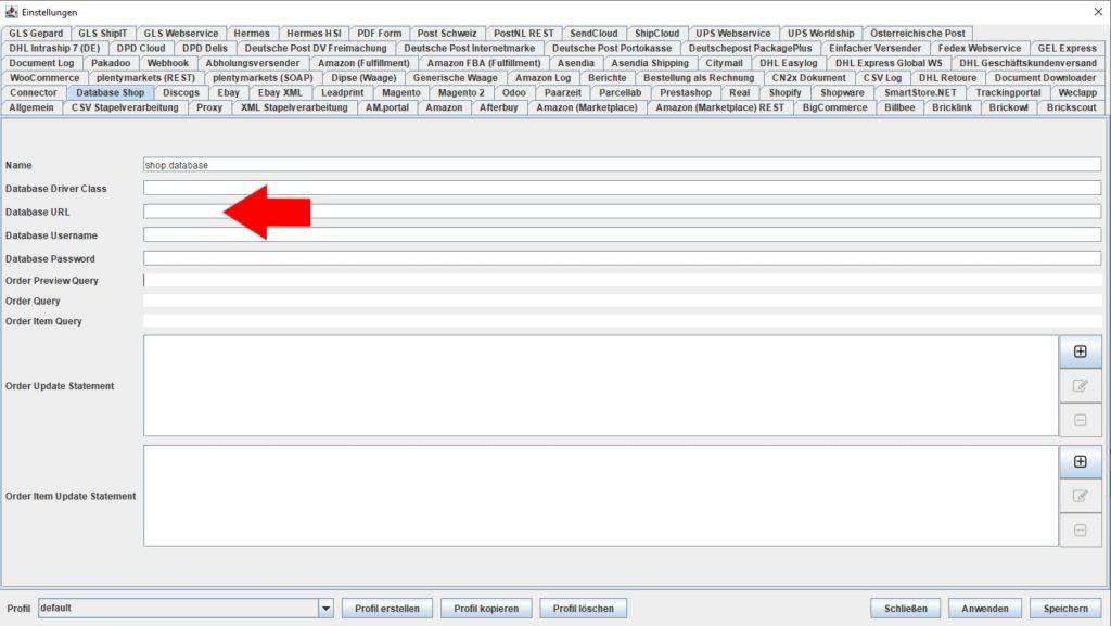 Database Shop URL