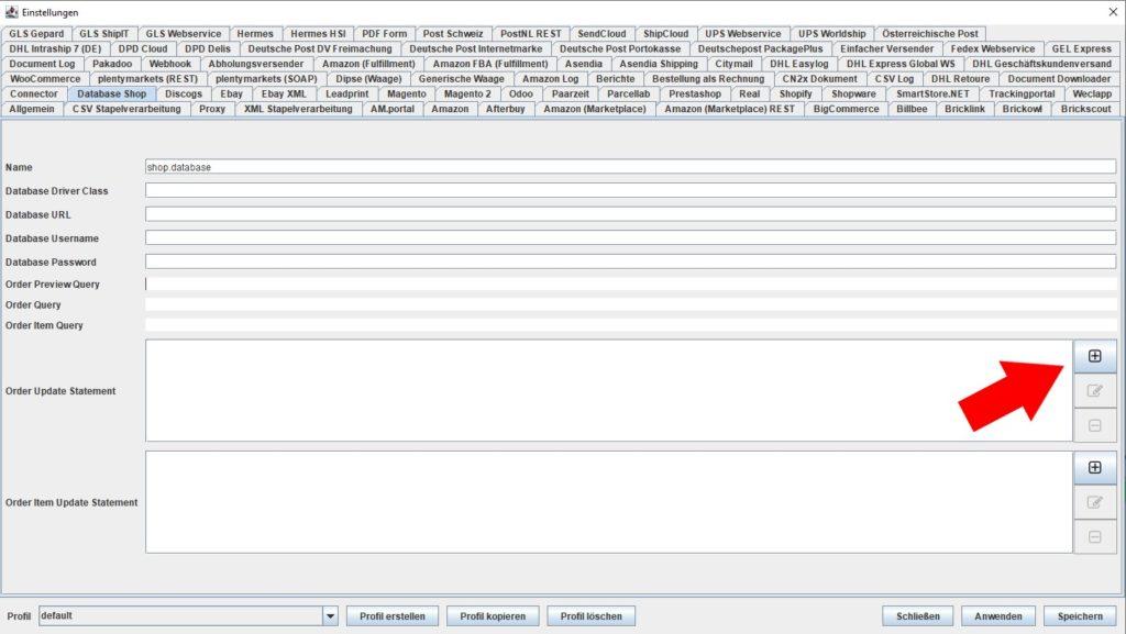 Database Shop order update statement