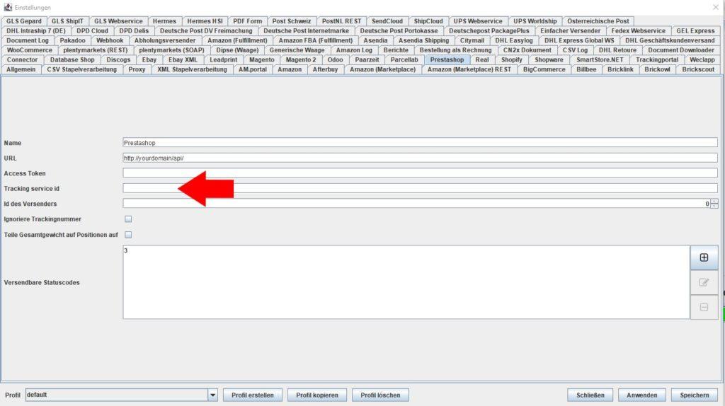 Prestashop Tracking Service id