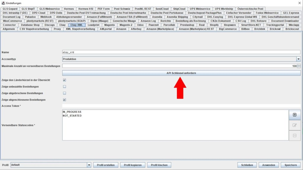 EbayXML API Schlüssel