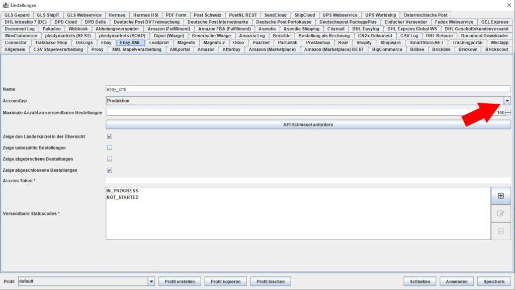 EbayXML Accounttyp