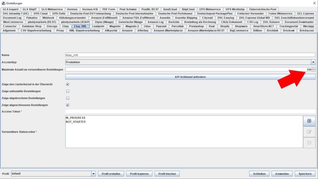 EbayXML Max Anzahl versendbarer Bestellungen