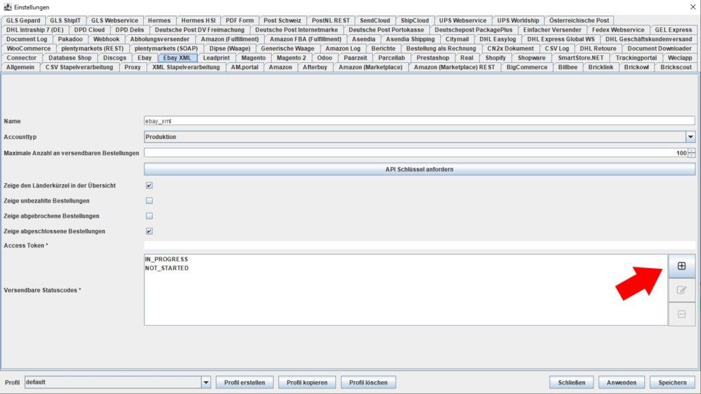 EbayXML versendbare statuscodes