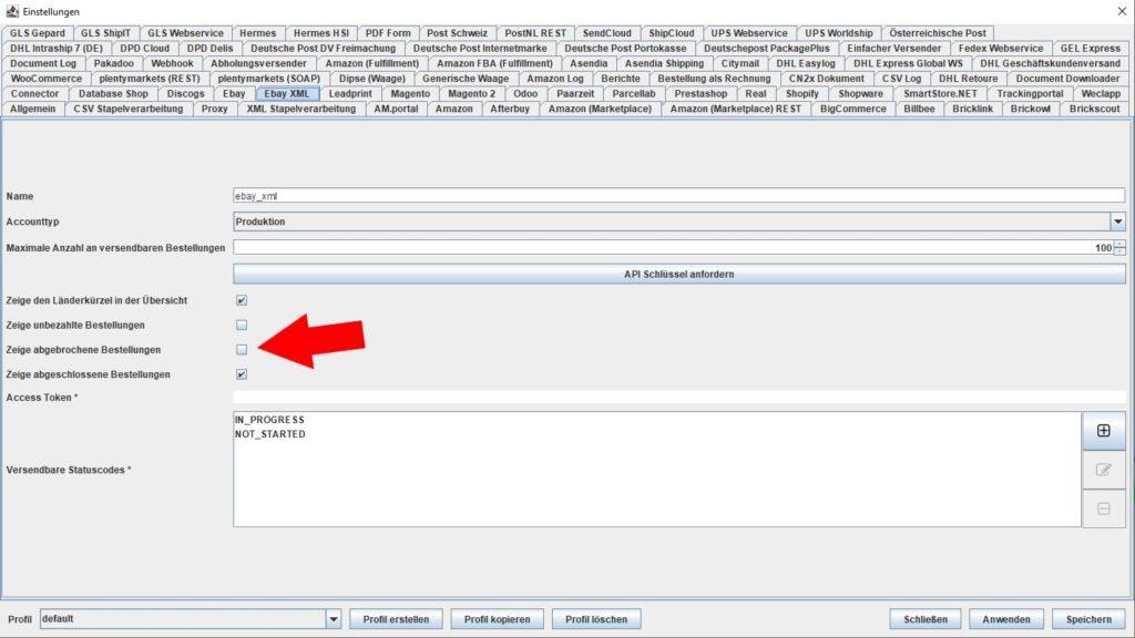 EbayXML abgebrochene Bestellungen