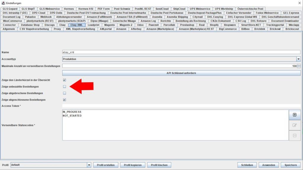 EbayXML Zeige unbezahlte Bestellungen