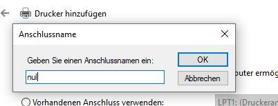Drucker - Anschlussname